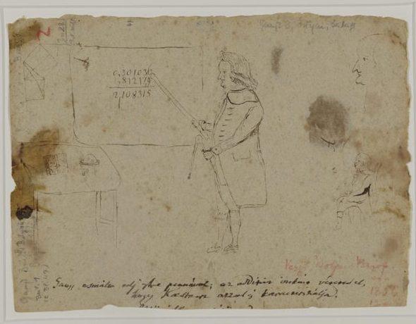 Kästner-Karikatur, Carl Friedrich Gauß, um 1795-98, Federzeichnung auf Papier, 150 x 207 mm, Staats- und Universitätsbibliothek Göttingen, Signatur COD MS GAUSS Briefe B: Bolyai, Beilage 1