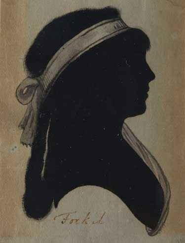 """Sophie Dorothea Margarete Forkel (1765-1853), Schriftstellerin, Übersetzerin zeitgenössischer politischer Werke und eine der sog. """"Universitätsmamsellen"""", Silhouetten aus dem Freundschaftsalbum des Gregorius von Berzeviczy, Künstler unbekannt, um 1784-86, Silhouetten (Reproduktion), Kunstsammlung der Universität Göttingen."""