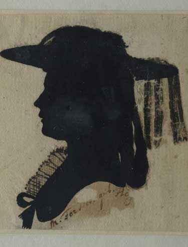 """Therese Forster (1764-1829), Schriftstellerin, Übersetzerin, Redakteurin und eine der sog. """"Universitätsmamsellen"""", Silhouetten aus dem Freundschaftsalbum des Gregorius von Berzeviczy, Künstler unbekannt, um 1784-86, Silhouetten (Reproduktion), Kunstsammlung der Universität Göttingen."""
