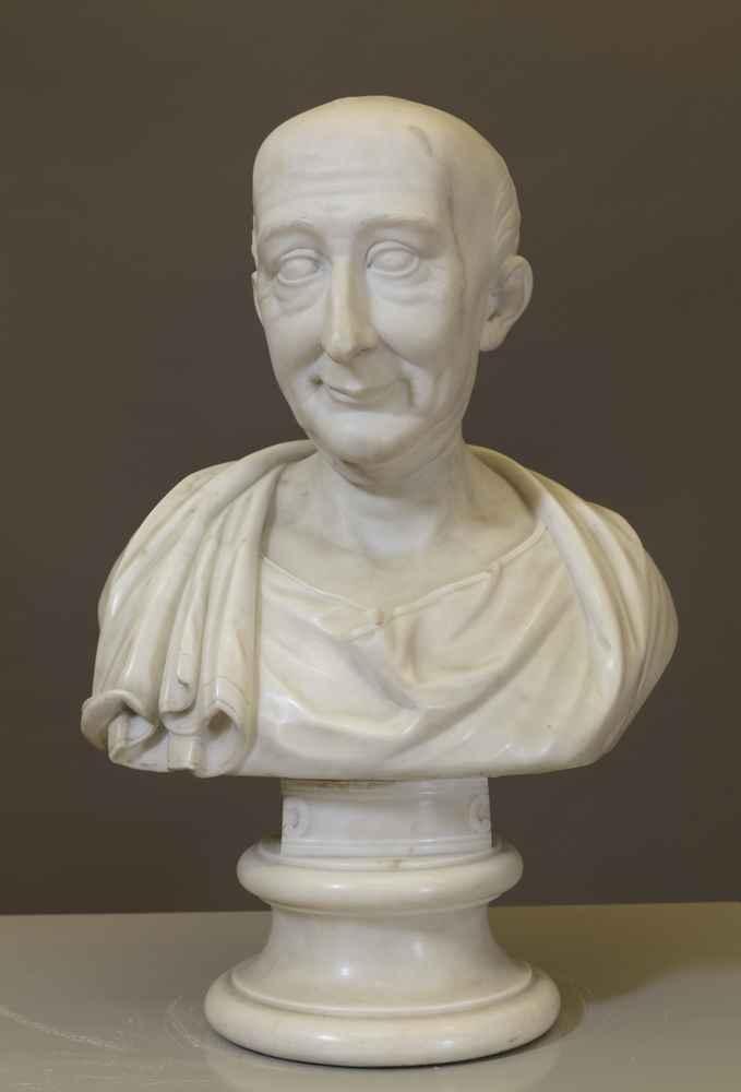 BUST OF ABRHAM GOTTHELF KÄSTNER (1719–1800) Professor of Mathematics and Physics   Director of the Observatory Friedrich Wilhelm Doell, around 1800, marble