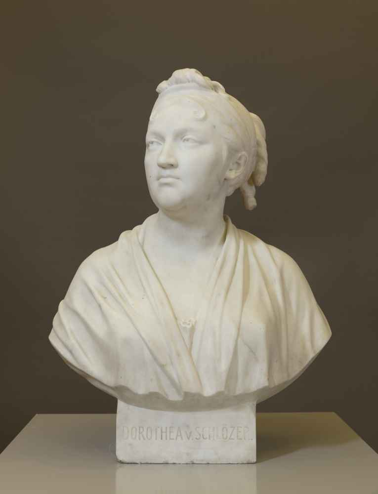 """BUST OF DOROTHEA SCHLÖZER (1770–1825)   One of the so-called """"University Housekeepers"""" Jean-Antoine Houdon, date unknown, marble Art Collection of the University"""